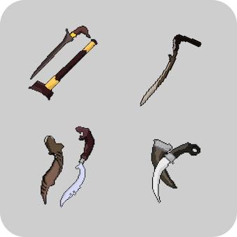 픽셀 아트 스타일로 설정된 전통 무기