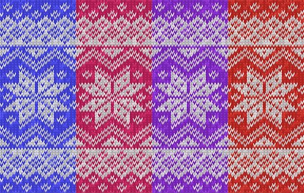 伝統的な冬の休日のシームレスなニットパターン雪片とリアルなニットテクスチャ背景の壁紙の背景のニットウェアのベクトルイラストスカンジナビアのノルウェースタイル