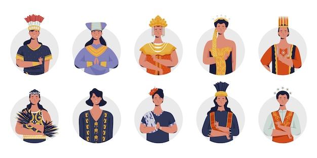 Традиционная женская одежда в индонезии. плоские векторные иллюстрации