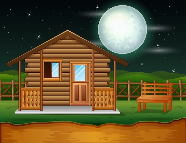 A traditional wooden house in the night scene