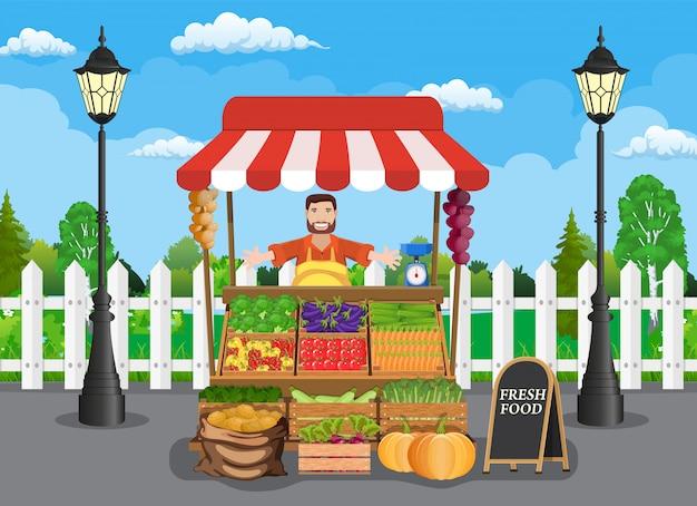 전통적인 목조 시장 음식 마구간 프리미엄 벡터