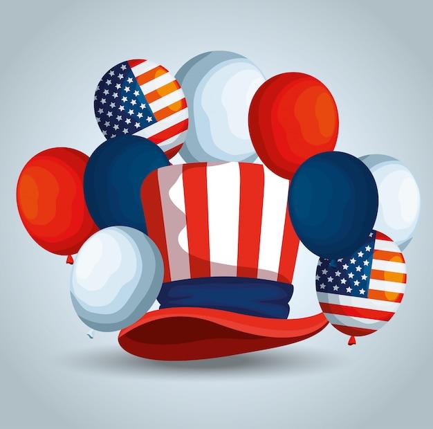 Traditonal hat with usa flag balloons