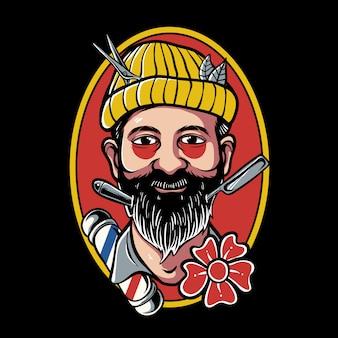 Traditonal tattoo design of barber man wearing beanie hat