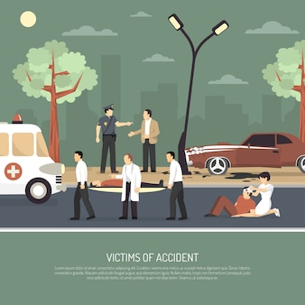 Traffic accident first aid flat poster