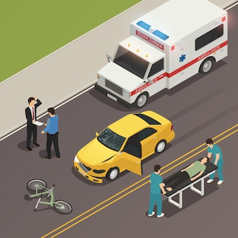 Traffic accident scene isometric composition