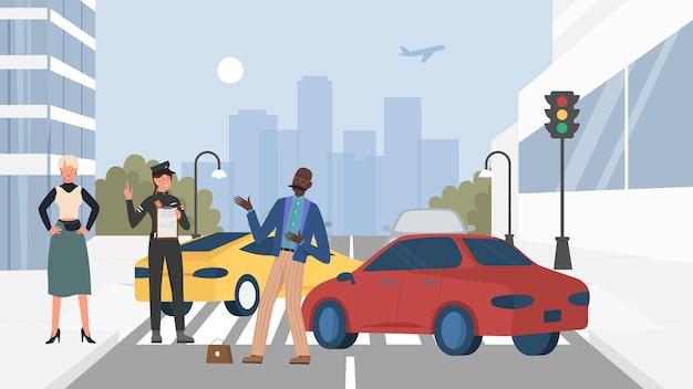 車のイラストと交通事故のシーン