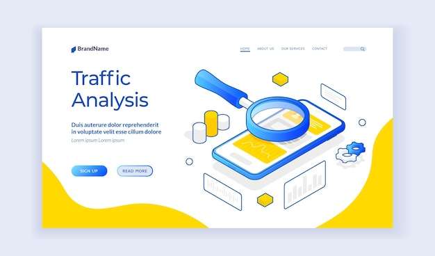 Traffic analysis. isometric banner template with magnifying glass above mobile phone for concept of traffic analysis. mobile page speed optimization. secure web traffic. landing page template