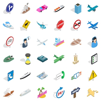 Traffic in city icons set, isometric style