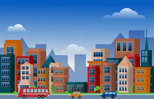トラフィックシティアーバン超高層ビルビル都市景観フラットデザインイラストを表示