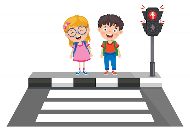 Traffic concept with funny characters