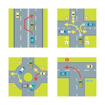 街の上面図に設定された車と矢印を使用した交通状況スキーム。