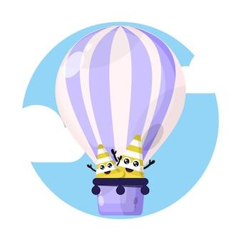 교통 콘 풍선 귀여운 캐릭터 로고