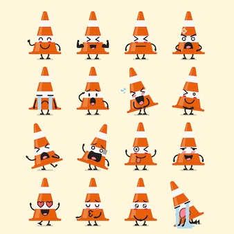 Traffic cone character emoji set
