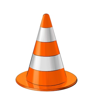 Traffic cone from multicolored paints splash of watercolor colorful drawing realistic