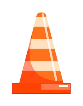 Traffic cone safety road sign isolated on white background