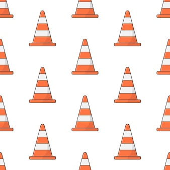 Traffic cone seamless pattern on a white background. road theme vector illustration