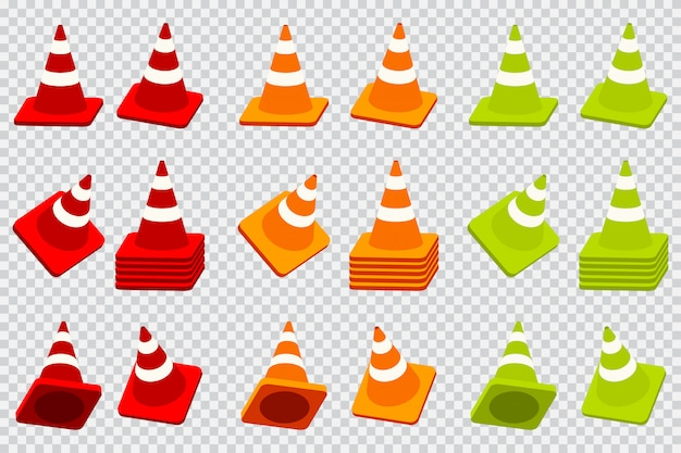 Traffic cone vector cartoon icons set isolated