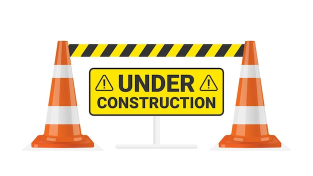 Traffic cone warning under construction