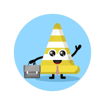Traffic cone works cute character logo