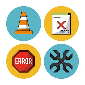 Traffic cone and wrench crossed and poster and computer window error