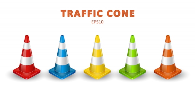 Traffic cones collection. isometric set of colorful icons for web design isolated on white background. realistic illustration.