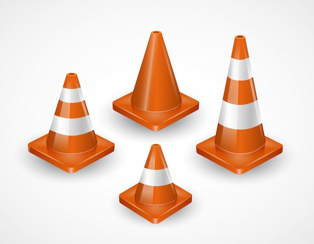 Traffic cones collection. isometric set of icons for web design isolated on white. realistic vector illustration.