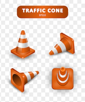 Traffic cones collection. isometric set of icons for web   on white background. realistic  illustration.