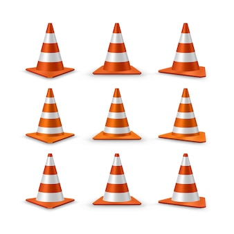 Traffic cones set. red realistic road plastic cones with white striped,  illustration