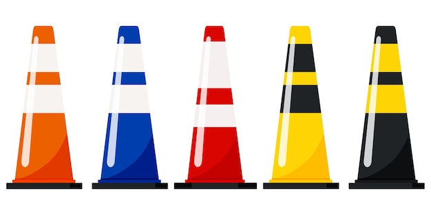 Traffic cones set with reflective stripes stickers vector flat design illustration isolated on white background.