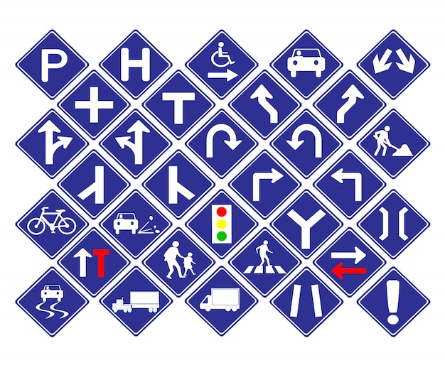 Traffic diamond shape blue road sign