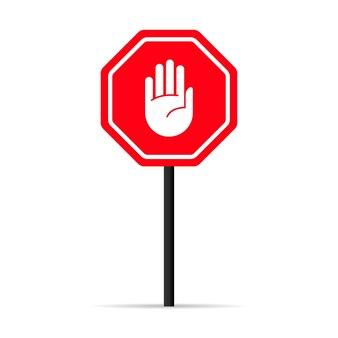 Значок сигнала остановки руки движения. предупреждающий запретный знак. вектор на изолированном белом фоне. eps 10.