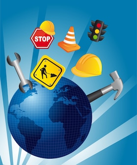 Traffic icons over blue planet vector illustration