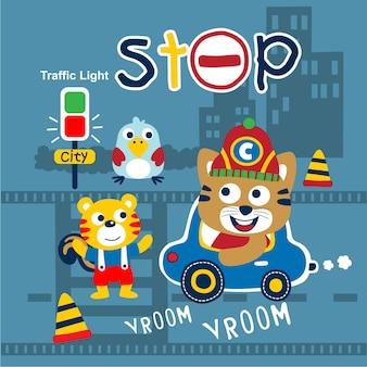 Движение в городе забавный мультфильм животных