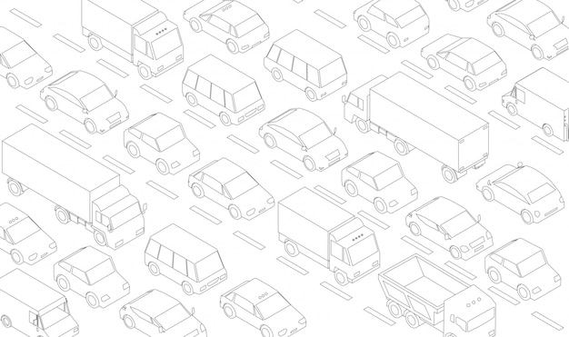 Traffic jam, car plug transport highway road. a lot of cars. gray lines outline contour style.