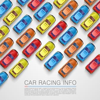 Пробка на дороге. цвет фона автомобиля. векторный фон