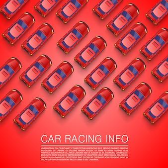 Пробка на дороге. красный фон автомобиля. векторный фон