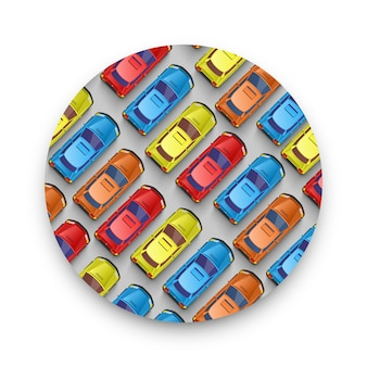 Traffic jam on the road. color car sticker. vector background