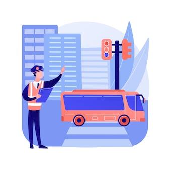 Illustrazione di vettore di concetto astratto di leggi stradali. codice del traffico, obbedire a leggi e regolamenti, patente di guida, regole di circolazione dei veicoli, sicurezza stradale, ammenda di violazione, metafora astratta internazionale.