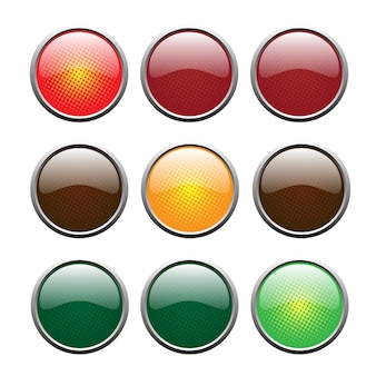Traffic light circle set collection