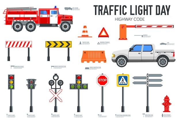 신호등 일과 고속도로 코드 아이콘을 설정
