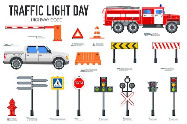 Набор иконок светофора и дорожного кода