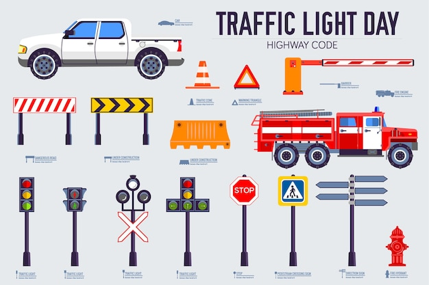 Traffic light day and highway code icons set