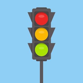 신호등. 녹색, 노란색, 빨간색 표시 등
