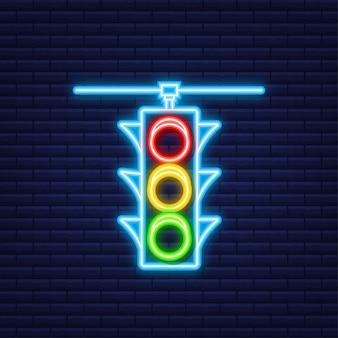 Значок светофора. пешеходный знак. неоновый стиль. векторная иллюстрация.