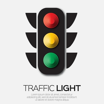 Traffic light. origami red, yellow, green lights