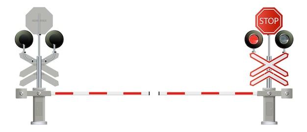 Железнодорожные барьеры светофора закрываются изолированными на белом фоне дизайн-концепция для запуска бизнеса ...