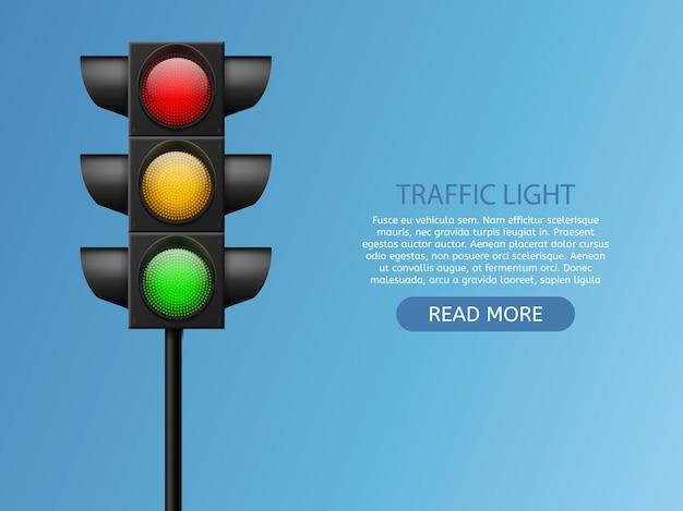 신호등. 현실적인 led 조명 빨간색, 노란색 및 녹색, 횡단 보도 및 도로 안전, 제어 사고, 신호 거리 규제 시스템 벡터 세트 복사 공간이 있는 흰색 배경에 고립