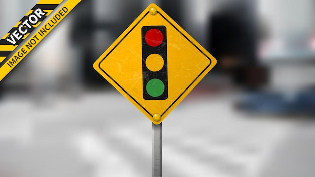 Traffic light signal road sign on blurred background