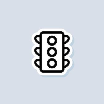 Наклейка светофора. знак светофора. вектор на изолированном фоне. eps 10.