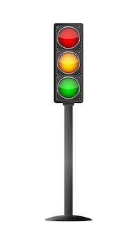 Traffic light symbol on light background